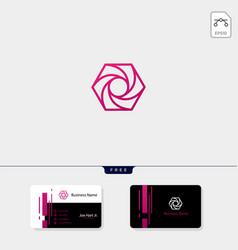 Photography hexagon logo template business card vector