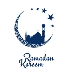Ramadan Kareem design with mosque and moon vector