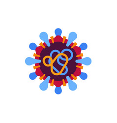 Red and blue virus flat icon sars-cov-2 novel vector