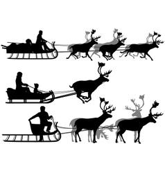 Reindeer sleighs vector image