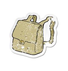 Retro distressed sticker of a cartoon satchel vector