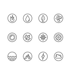 round icon set fire water earth and air vector image