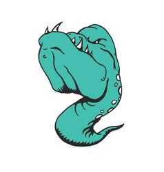 sea monster cartoon character animal cartoon vector image