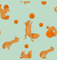 seamless set withsquirrels plaing in basketball vector image