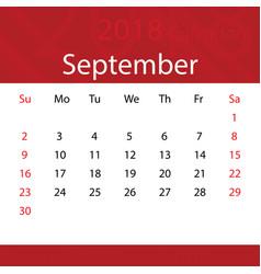 September 2018 calendar popular red premium for vector