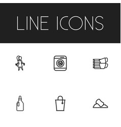 Set of 6 editable cleanup outline icons includes vector