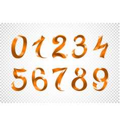 set of festive orange ribbon digits iridescent vector image
