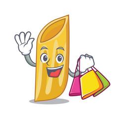 Shopping penne pasta character cartoon vector