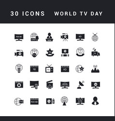 simple icons world tv day vector image