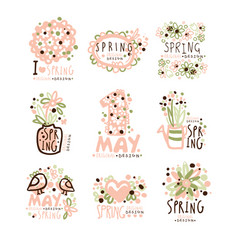 spring 1 may set for label design spring vector image