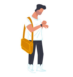 student male character hurrying for lesson vector image
