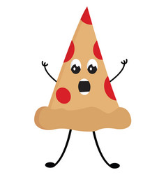 surprised pizza slice on white background vector image