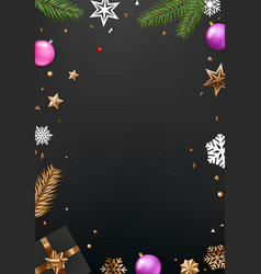 Top view background with christmas accessories vector