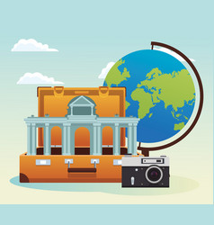 Travel suitcase with iconic arch and camera and vector