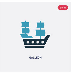 Two color galleon icon from transport concept vector
