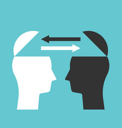 Two heads exchanging thoughts vector