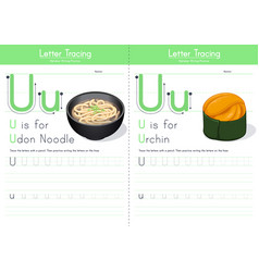 u for udon and for urchin vector image