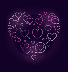Valentines heart pink creative line vector