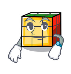 Waiting rubik cube mascot cartoon vector