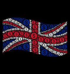 waving great britain flag mosaic of financial seal vector image