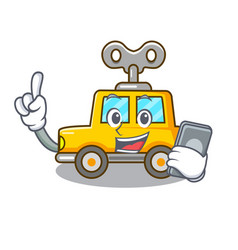 With phone character clockwork car for toy vector