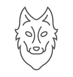 Wolf thin line icon animal and zoo vector