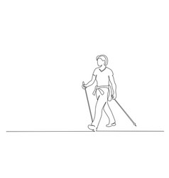 Woman walks on foot with walking sticks nordic vector