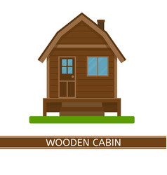 Wooden cottage icon vector