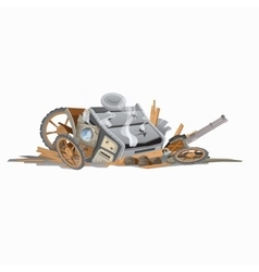 Wreckage of carriage image in cartoon style vector