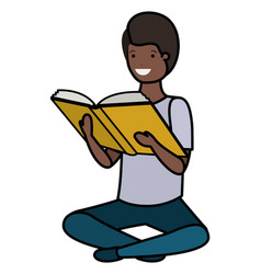 Young black student sitting reading book vector