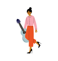young woman carrying guitar girl shopping at vector image