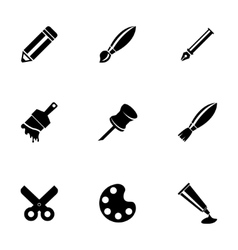 black art tool icons set vector image