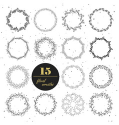 collection of hand drawn floral wreaths vector image