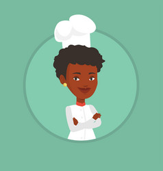 confident female chef with arms crossed vector image