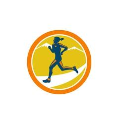 Female Triathlete Runner Running Retro vector image
