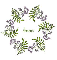 hand drawn summer wreath vector image vector image