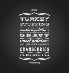 happy thanksgiving menu greeting card vector image vector image