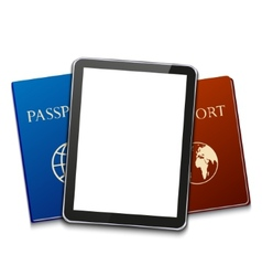 modern computer tablet with passport vector image
