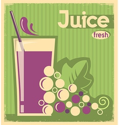 old poster of grape juice on old paper texture vector image vector image