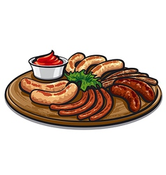 roasted sausages vector image