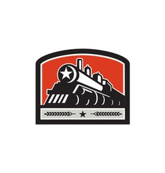 Steam Train Locomotive Star Crest Retro vector image vector image