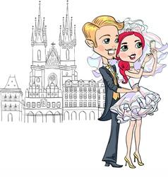 Bride and groom make selfie in Prague vector image vector image