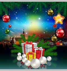 Christmas greeting with panorama of city and gifts vector