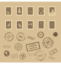 Collection of vintage post stamps vector image