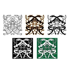 Fighting wolves celtic pattern ornament vector image vector image
