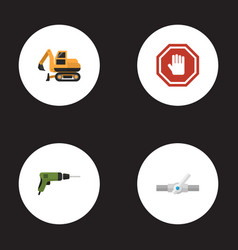 flat icons electric screwdriver tractor stop vector image vector image