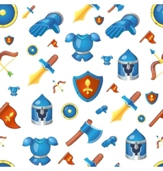 Medieval weapons seamless cartoon background vector image