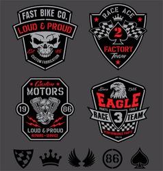 Motor racing emblem patch set vector image vector image