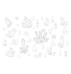Set 18 fashion crystal Monochrome diamonds in vector image vector image