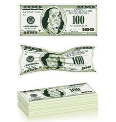 set dollar bills vector image